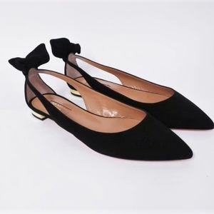 Aquazzura Deneuve Ballet Flats Black Suede